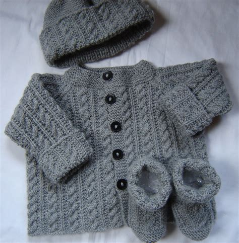 baby sweater knitting pattern baby boy sweater set hat booties knit gray by swanavenue