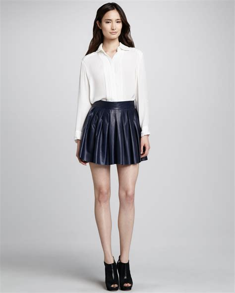 leather pleated skirt pleated leather skirt in blue navy lyst