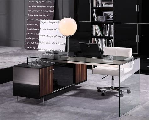 office furniture desks modern contemporary office desk with thick acrylic cabinet