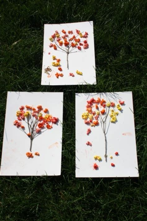 popcorn crafts for fall popcorn trees family crafts