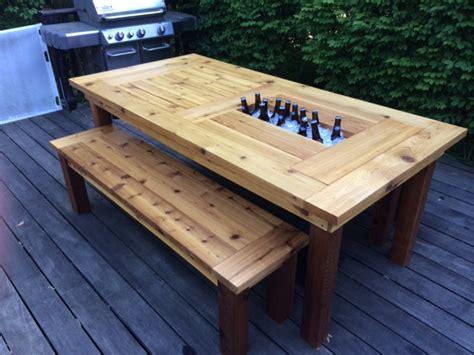 cedar patio table white cedar patio table w coolers diy projects