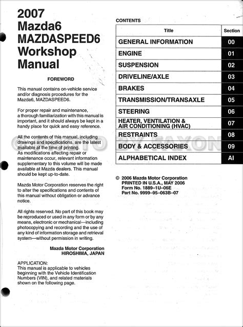 free online auto service manuals 2006 mazda mazda3 electronic throttle control service manual auto repair manual free download 2007 mazda mazdaspeed6 lane departure warning