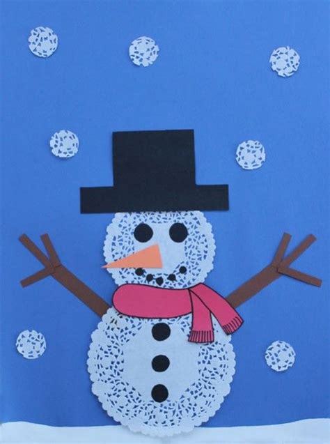 snowman paper crafts for using paper doilies to make a snowman winter craft
