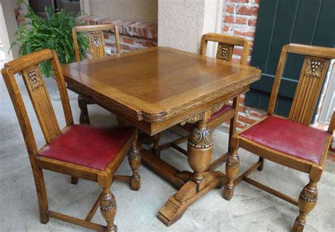 tiger oak dining chairs set antique carved tiger oak draw leaf dining
