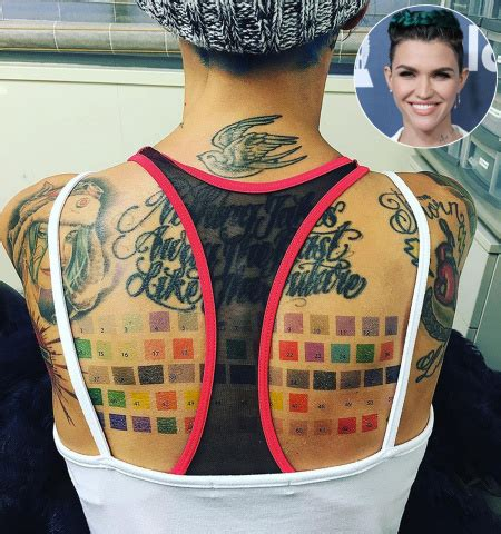 ruby rose debuts a massive paint swatch tattoo on her back