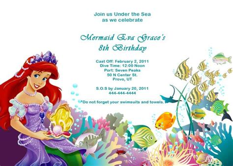 the little mermaid birthday invitations baby shower for