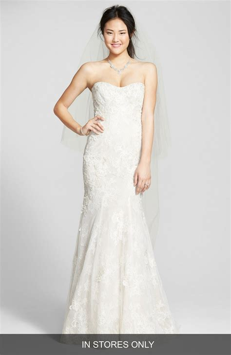 strapless beaded wedding dress bliss lhuillier strapless beaded lace trumpet