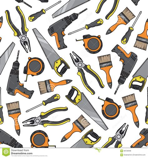 tools and equipment tools and equipment seamless pattern stock vector image