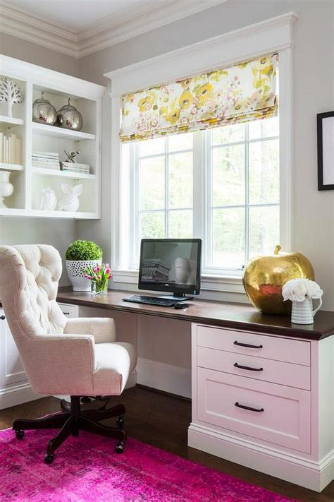 desk rug home office with wood top built in desk and pink
