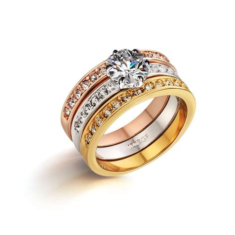 ring bands for jewelry genuine italina 18k gold plated anillos 3 rings set