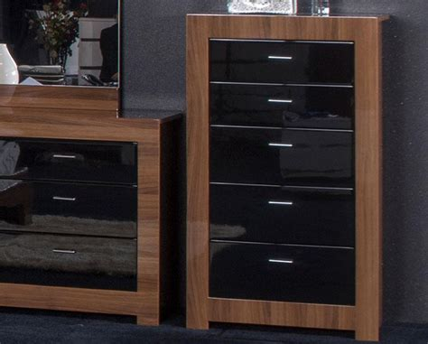 walnut and black bedroom furniture high gloss chests of drawers modern bedroom