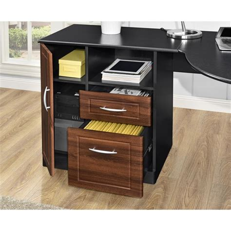 corner cherry desk corner desk in cherry and black 9306296com