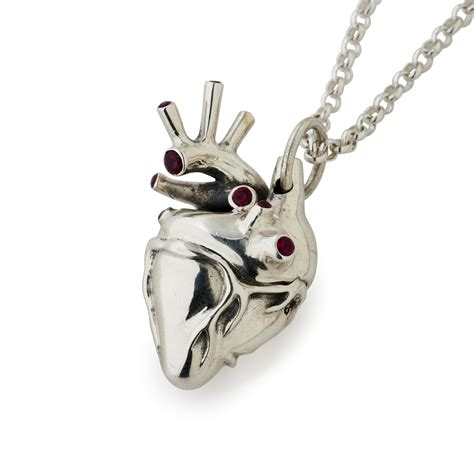large pendants for jewelry large silver anatomical pendant with rubies the