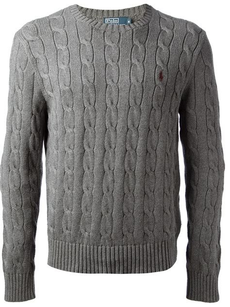 gray cable knit sweater polo ralph cable knit sweater in gray for lyst