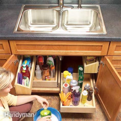 the kitchen sink organization how to build kitchen sink storage trays the family handyman