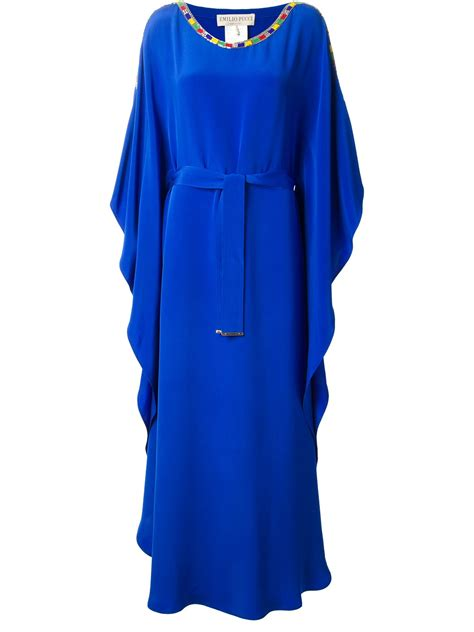 blue beaded gown emilio pucci beaded kaftanstyle gown in blue lyst