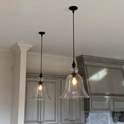 kitchen pendant lights above kitchen counter large glass bell hanging pendant