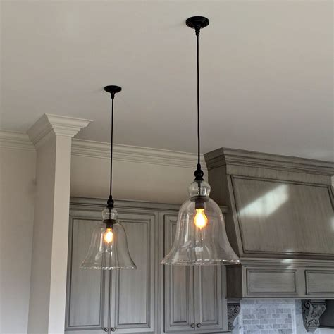hanging kitchen lighting above kitchen counter large glass bell hanging pendant