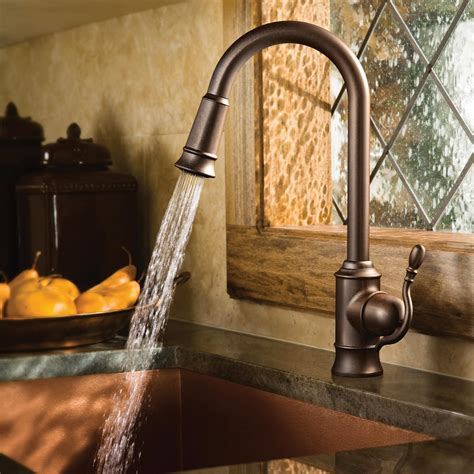 moen rubbed bronze kitchen faucet moen 7615orb woodmere one handle high arc pulldown kitchen faucet rubbed bronze