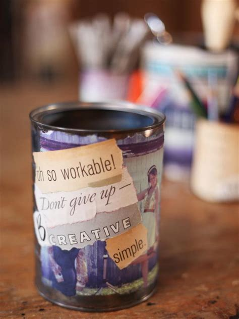 Decoupage Photo And Quote Cans Hgtv