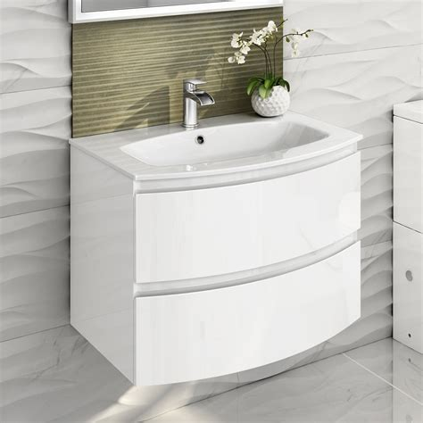 bathroom basin vanity units 700mm modern white vanity unit curved bathroom furniture