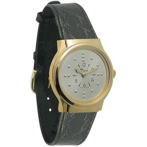 gold leather band maxiaids mens gold tone authomatic braille with
