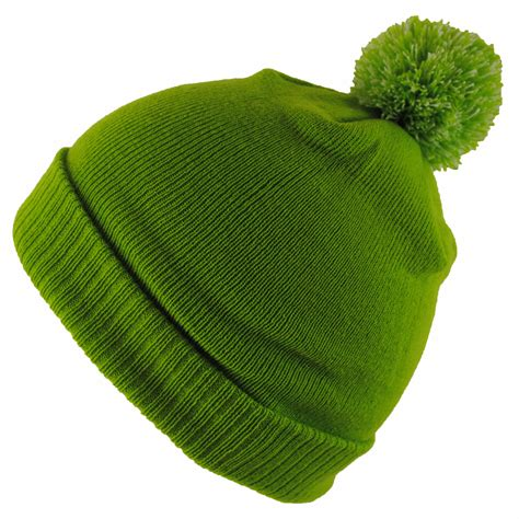 green knit hat bnwt junior knitted green navy winter wooly roll