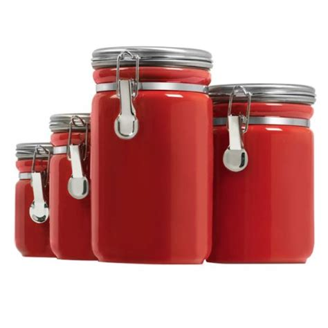 Black Kitchen Canisters Sets 4 piece red canister sets for kitchen storage red