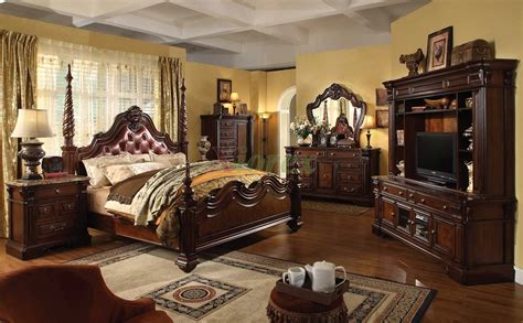 traditional style bedroom furniture traditional poster bedroom furniture set with leather
