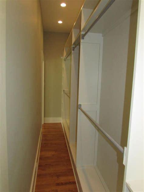 narrow walk in closet best 25 narrow closet ideas on master closet