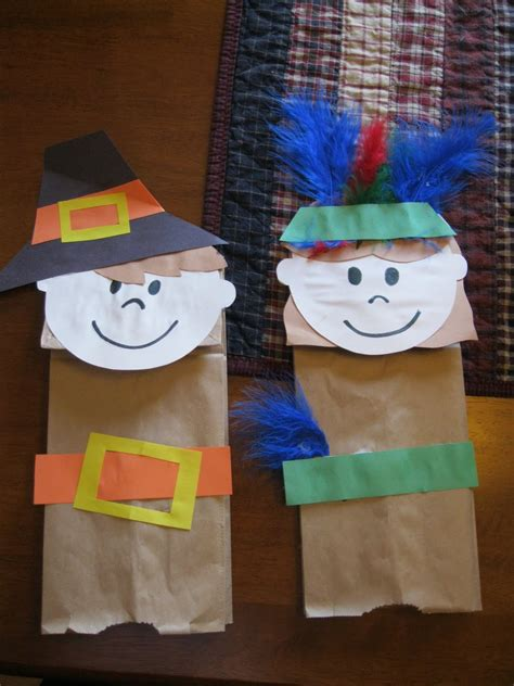 puppet craft for the johnson journey thanksgiving paper bag puppets