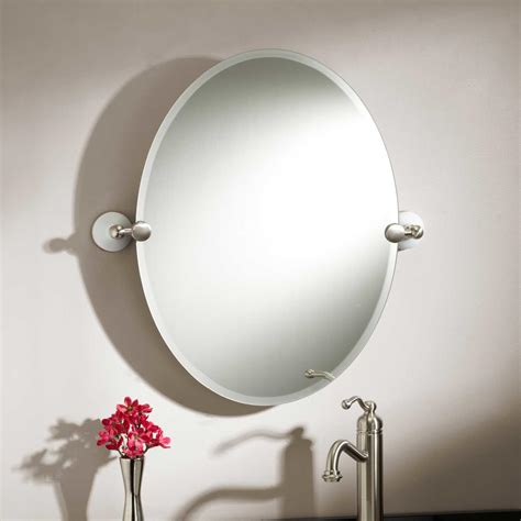 bathroom mirrors oval oval bathroom mirrors brushed nickel best decor things