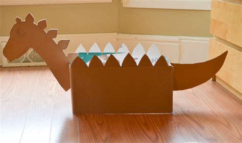 how to make a card board box diy cardboard box dinosaur