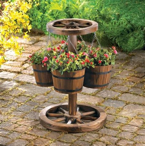 outdoor wooden planters western decor wood barrel planter eclectic outdoor