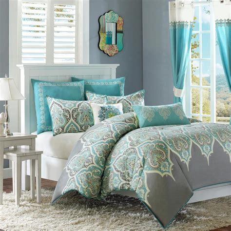 teal and grey comforter set beautiful cotton tropical teal aqua blue grey