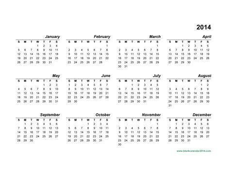 2014 calendar template yearly calendar printable