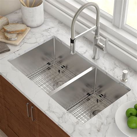 sunken kitchen sink kraus stainless steel 32 75 quot x 19 quot bowl undermount