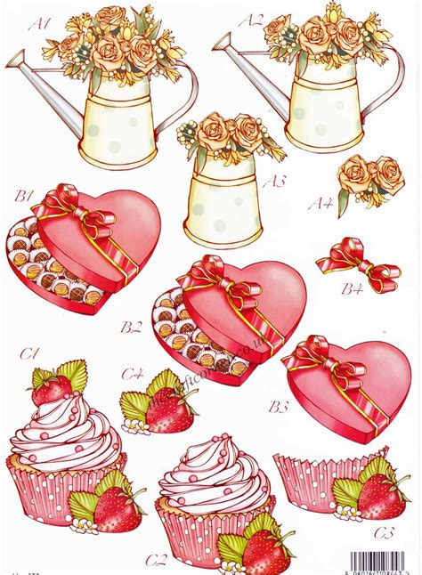 decoupage sheets uk hearts cup cakes die cut 3d decoupage sheet from