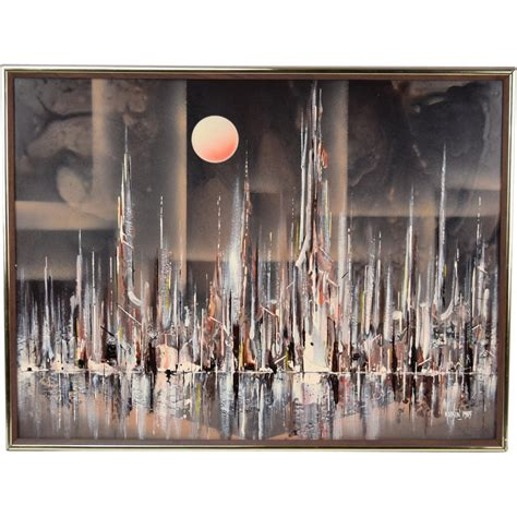 spray paint chicago skyline 1985 abstract modernist cityscape skyline by water rick