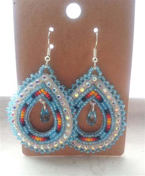 beaded earrings american american beaded teardrop earrings