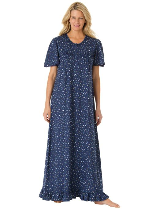 plus size cotton knit nightgowns cotton knit gown with lace edged flutter sleeves by