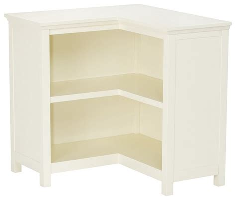 corner white bookcase cameron corner bookcase simply white transitional bookcases by pottery barn