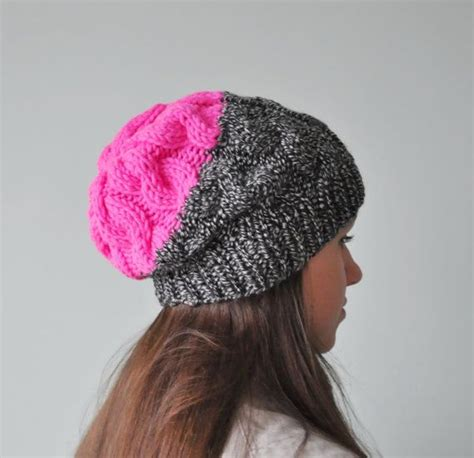 how to knit a slouchy beanie neon pink cable knit beanie hat chunky knit hat slouchy