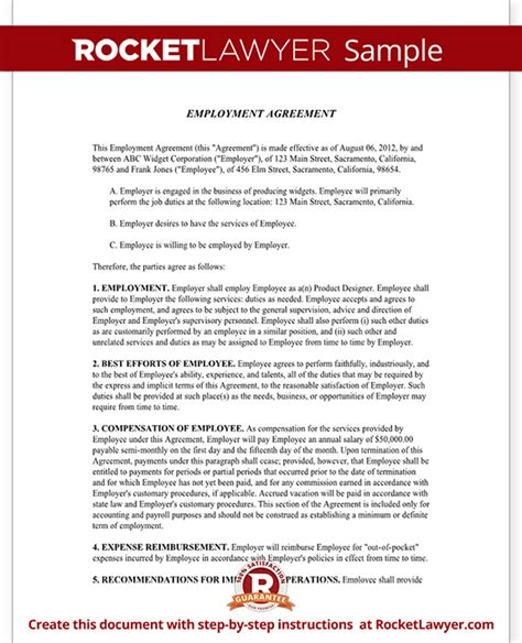 sample employment contract form template images frompo