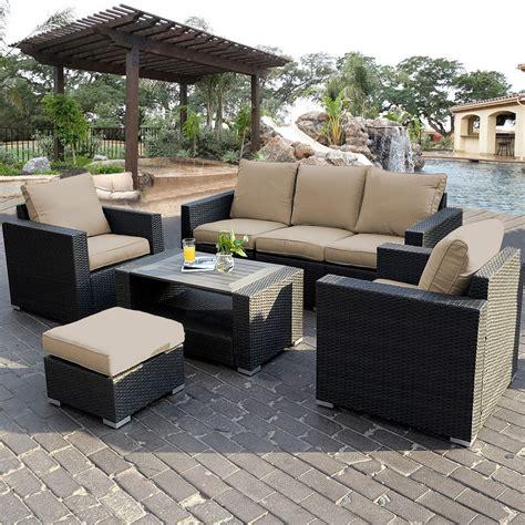 rattan patio furniture 7pc outdoor patio sectional furniture pe wicker rattan