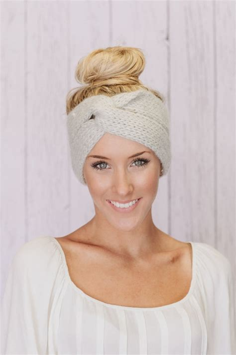 how to knit a headband cable knitted headband ear warmer gray fall hair band