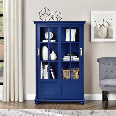 bookcase with sliding doors bookcase with sliding glass doors in navy 9448596com