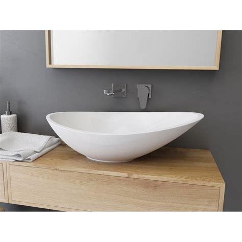vasque 224 poser r 233 sine de synth 232 se l 56 4 x p 32 3 cm blanc shila leroy merlin