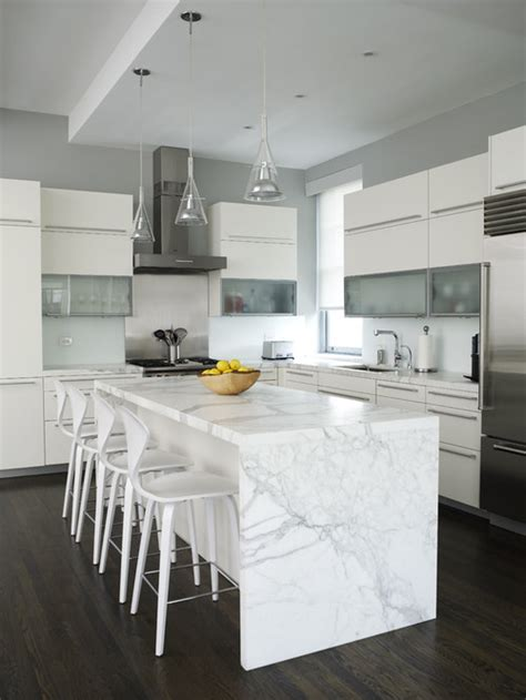 marble kitchen islands the granite gurus whiteout wednesday 5 white kitchens with quot waterfall quot islands
