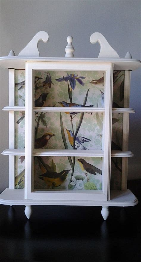 decoupage shelves painted jewelry or trinket display shelf with